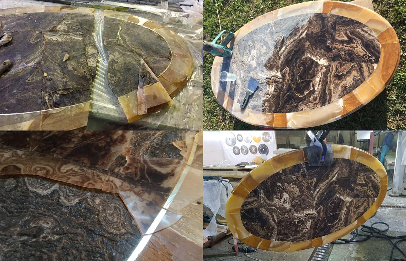 Реставрация столика из оникса