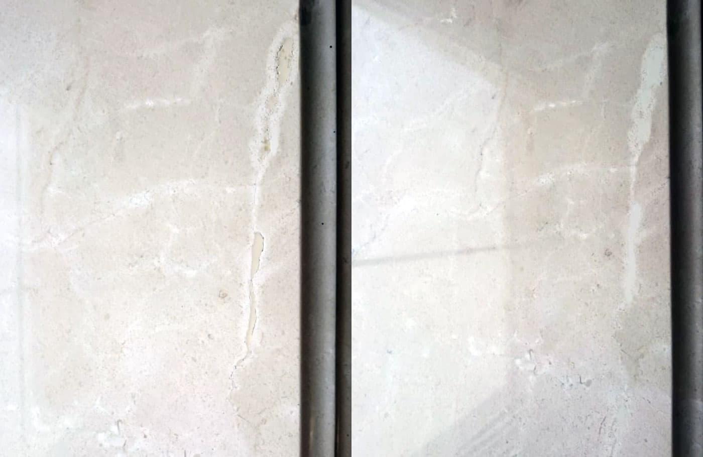 Реставрация подоконника из мрамора крема марфил