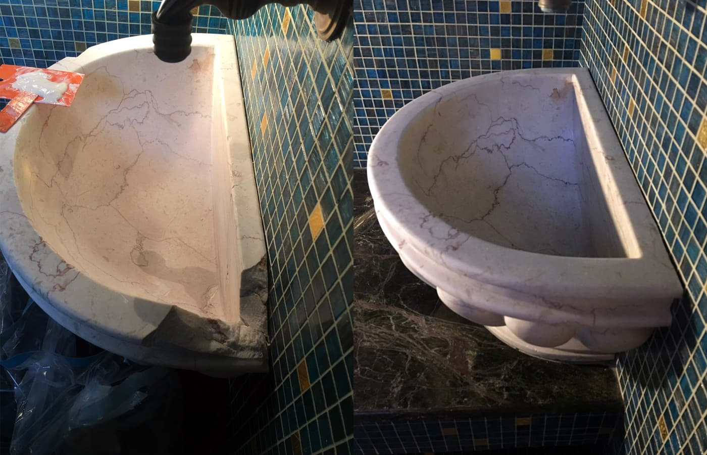 Реставрация курны из мрамора Розалия